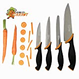 Kung fu Carrot Kitchen Knife Set with High Quality Stainless Steel Consists Chef Knife, Utility Knife, Tomato Knife, Paring Knife (4 Piece Sharp Knife Set)
