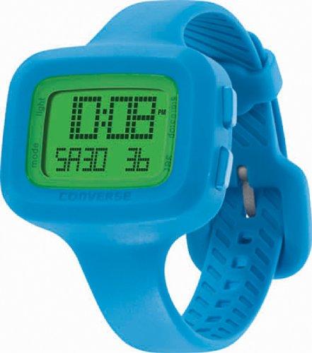 Converse Understatement – Reloj digital de mujer de cuarzo con correa de silicona azul (alarma, cronómetro) – sumergible a 30 metros