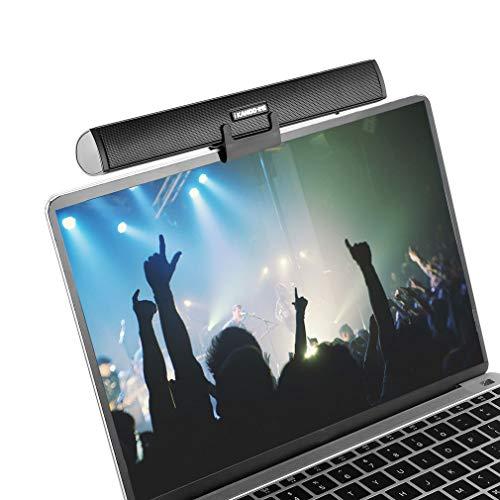 Portable Lautsprecherleiste, Ikanoo USB Kabel Powered Sound Bar Clips auf Laptop oder Stände auf dem Desktop, Soundbar Lautsprecher für Notebook Laptop PC TV (Stand-usb Monitor Powered)