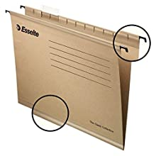 Esselte 93290 – Pack of 50 Suspension File Reinforced with Transparent Plastic Visor, A4, Natural Colour
