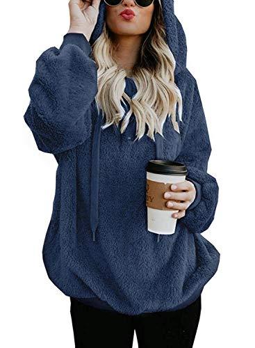 Yidarton Pullover Damen Hoodie Winter Lose Warm Kapuzenpullover Teddy-Fleece Langarm Oversize Sweatshirt mit Kapuze (Marine, X-Large) (Rollkragenpullover Gerippten Blaue)