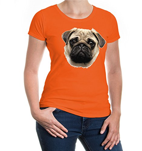 Girlie T-Shirt Pug-Face-XS-Orange-z-direct