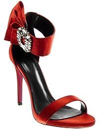 Angkorly Scarpe Moda Sandali Decollete con Tacco Stiletto con Cinturino  alla Caviglia Donna con Volant Gioielli d06992eeac8