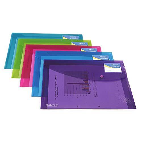 Rapesco 0700 Sammelmappe DIN A4 (5 Stück pro Verpackung,mit Druckknopf) transparenten Farben