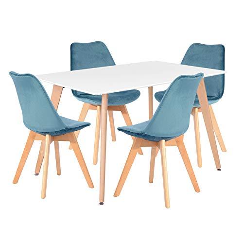 Fanilife - Mesa de comedor rectangular, de 110 cm, diseño retro moderno, con patas de madera, ideal para salón, comedor, cocina, oficina, sala de estar, color blanco