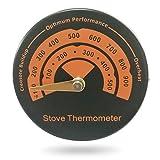 KOBWA Magnetisches Thermometer für Ofen, Aluminiumlegierung, schnell ablesbar, Ofen, Abgasrohr Thermometer für Holzofen und Öfen, Ofenrohr-Thermometer