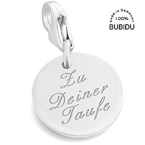 Charm Anhänger mit Gravur zur Taufe oder Kommunion ❤️ Silberschmuck mit Namen Charm personalisierbar für Armband oder…