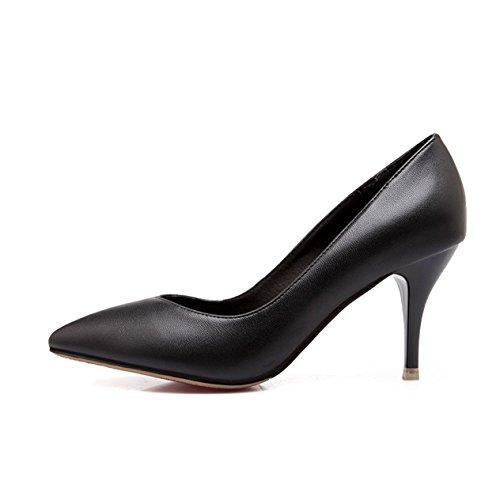 Damen Pumps High-Heels Spitz Zehen Slip on Einfach Klassisch Rutschhemmend OL Büro Formell Bequem Strapazierfähig Elegant Modisch Stiletto Schwarz