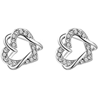 SaySure - Jewelry Platinum double heart Twine Austrian crystal (4 Double Wall Tip)