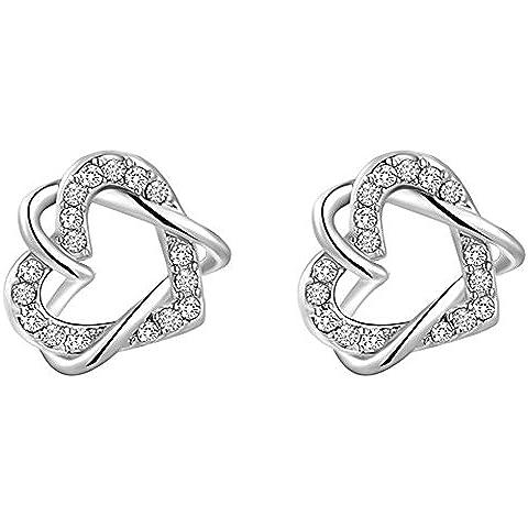 SaySure–joyería Platinum doble corazón cristal austriaco Twine Earrrings