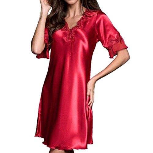 Yying Women Nightshirt Dressing Gown Satin Silky Pyjamas Nightwear Nighties Short Sleeve Bathrobe