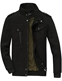 Zicac Men's Casual Slim Multi-Pocketed Jacket Short Aviator Military Jacket Outerwear With Ribbing Stand Collar
