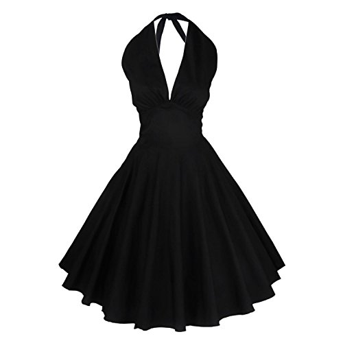LUOUSE 50s Vintage Retro Schwingen Rockabilly Pinup-Abend-Kleid,Black,L