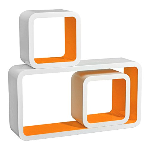 3er Set Wandregal Bücherregal, Cube Regal CD-regal, MDF Holz, Farben auswählbar, Weiß-Orange RG9229or
