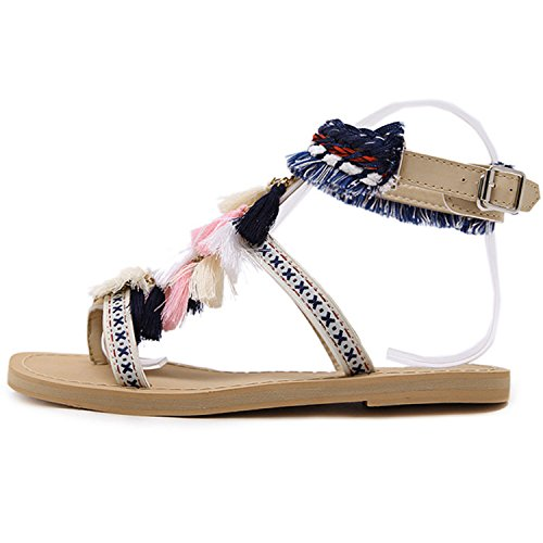 Oasap Women's Ankle Strap Flat Thong Sandals with Tassel apricot