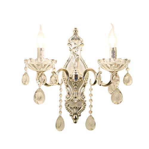 WENYAO Gesundheit UK Wandleuchte-Wandleuchte Zinklegierung Doppel Kerze Silber Kristall Beleuchtung Schlafzimmer Nacht Villa Wohnzimmer Gang Korridor E14 Glas Wandleuchte Willkommen -