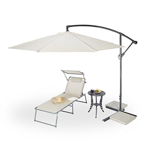 Relaxdays Gartenschirm 3m Durchmesser, Stahlmast 45mm, stabile Rippen, Polyester, Neigefunktion,...