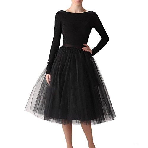 Sarahbridal Damen 50's Petticoat Reifrock fuerAbendkleider Ballkleid Tutu Vintage Unterrock S12021 Schwarz