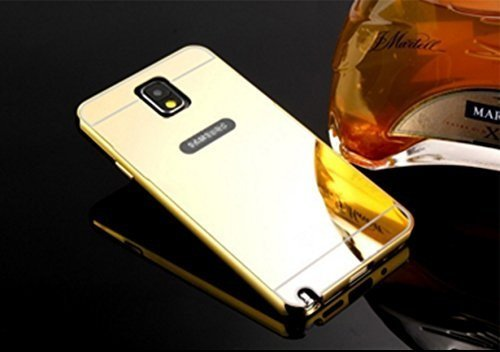 AE Luxury Metal Bumper + Acrylic Mirror Back Cover Case For SAMSUNG GALAXY NOTE 3 GOLD PLATED
