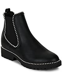 TRUFFLE COLLECTION Black PU Studded Low Heel Ankle Boots