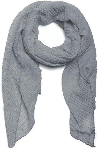 styleBREAKER pashmina tessuto increspato tinta unita effetto stropicciato foulard da donna 01016107 coloreGrigio