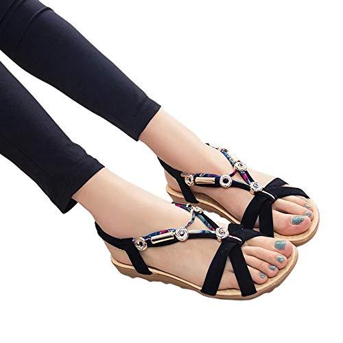 Alaso Sandales Plates Femmes, Pas Cher Femmes Ethnique Style Sandale De Plage de Ville Été à Talons Plats Tongs Claquettes Chaussures