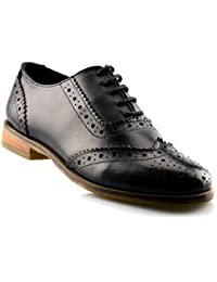 Ladies Womens Girls Leather Office Work School Lace Up Brogues Shoe Size 3-8 - Black - UK 5