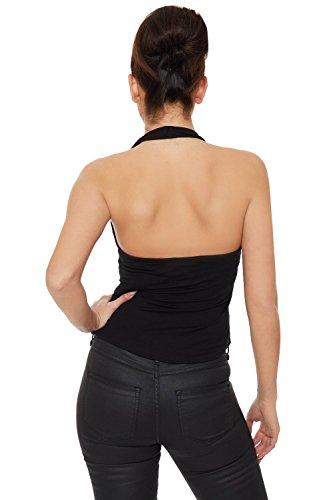 WEARALL Femmes Imprimer Licou Cou Sans Manches Haut 'Je Vouloir Il Tout' Slogan Gilet Dames - Hauts - Femmes - Tailles 36-42 Noir