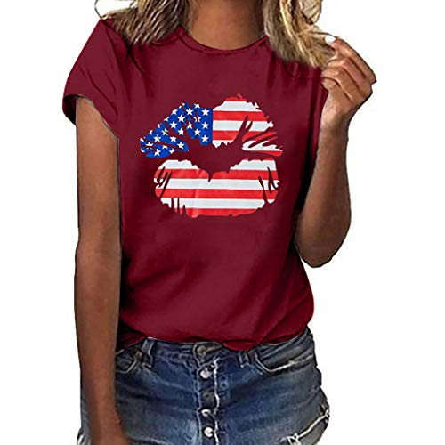 0bc957af9 Lazzboy T Shirt Women USA Flag Independence Day Lip Print Short Sleeve O  Neck Top Ladies Daily Blouse(XL(14),Wine-Stars)