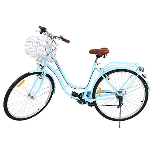 "Ridgeyard 28\""7 velocidades señoras Ciudad Bicicleta Estilo holandés Bicicleta Deportes al Aire Libre Ciudad Urbana Bicicleta Shopper Bicicleta luz + Cesta + Campana + batería-Powered luz ... (Azul)"