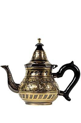 Théière en laiton traditionnelle - Bakir Noir/doré 600 ml - Orient Orientale thé à la menthe marocaine Maroc Marrakech
