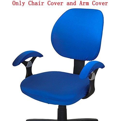 Tinton Life Einfarbige Bürostuhl-Abdeckung, universell dehnbar, drehbar, Stuhlhusse zum Anheben Royal Blue with Chair Arm Cover (Stuhlhussen Arm)