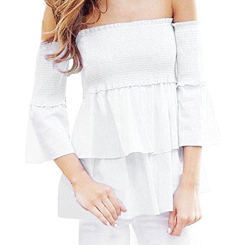 Gedruckt Jersey Tunika (Damen Langarm Bluse, FGHYH Damen V-Ausschnitt Gestreift Gedruckt Schulterfrei Langarm Shirt Tops Shirt Bluse(XL, Weiß))