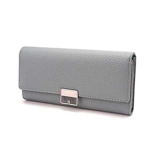 9571b688c2666 PUWEN Portemonnaie aus gefaltetem Leder mit großen Kapazität PU  Lederarmband Modische Freizeittasche MCYM blau