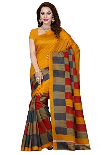 ISHIN Bhagalpuri Silk Yellow & Beige Printed Women's Saree  available at amazon for Rs.499