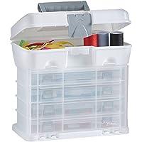 VonHaus - Caja de herramientas con 4 cajones transparentes y divisores ajustables, blanco