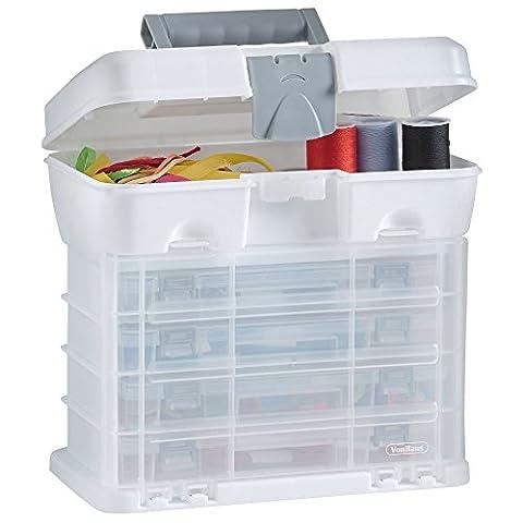 VonHaus Utility Werkzeugbox Organizer Tragekoffer mit 4 durchsichtigen Schubladen &