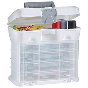 VonHaus – Caja de herramientas con 4 cajones transparentes y divisores ajustables, blanco