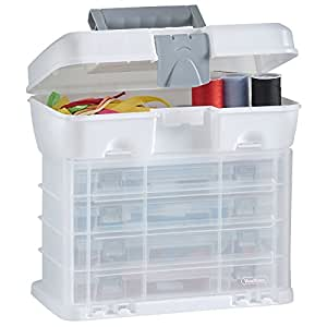 VonHaus Storage Organiser Carry Case with 4 Clear Drawers u0026 Adjustable Dividers - White - Great for Art/Craft/Hobby/Sewing Storage Amazon.co.uk DIY u0026 ...  sc 1 st  Amazon UK & VonHaus Storage Organiser Carry Case with 4 Clear Drawers ...