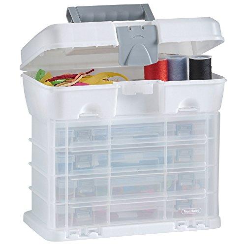 VonHaus Utility Werkzeugbox Organizer Tragekoffer mit 4 durchsichtigen Schubladen & anpassbaren Trennwänden - Weiß – Toll für die Lagerung von Kunst/Handwerk/Hobby (Schubladen 1 Werkzeug Kiste)