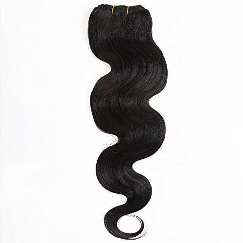 Dream Queen extension de cheveux femme AAAA Grade Inde 100% Remy Extensions de cheveux humains Corps de Trame vague 100 g Naturel Noir 30,5 - 76,2 cm DIY