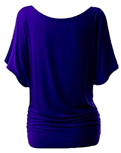 Damen Casual Sommer Einfarbig Rundkragens Fledermausärmel Trägerlos T-Shirt Oberteile Hemden Blusenshirt Tuniken Pulli Dunkelblau