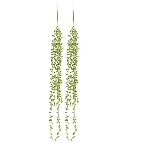 Perle Pflanze (TIREOW 2 Stück 78CM Künstliche Sukkulenten Pflanzen Kaktus Saiten von Perlen Pflanzen Senecio Hängende Pflanzen für Balkon Hochzeit Dekoration)