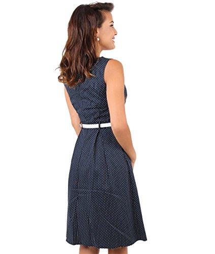 KRISP® Femme Robe Pin-Up 50s Rockabilly Imprimée Rétro Vintage Bleu marine (7045)