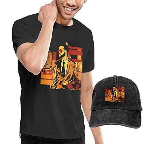 BAQQC Herren Kurzarmshirt Men's Fetty Wap Tees and Washed Denim Baseball Dad Hats Black (J Crew Denim-kleid)