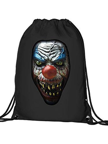 Golebros Halloween Killer Clown 5959 Süßigkeiten Beutel Tasche Turnbeutel mit verstärkten Ecken und Metallösen Schwarz