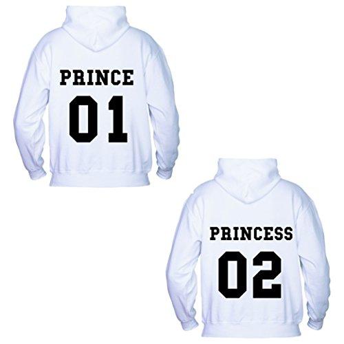 Coppia Di Felpe Prince & Princess Bianco