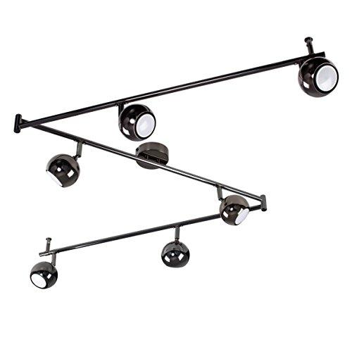 MiniSun Plafonnier ou Applique Aspect Rétro, Lustre 3 x Rail Droite, 6 Spot Globes Oculaires. Chrome Foncé Polis Entièrement Réglable GU10 50 watt ou 5 watt à LED (non fournis)