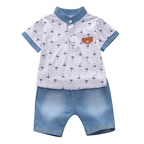 Cuteelf Baby Set Baby Kurzarm Baum Muster Shirt Top + Jeans Set Kind Kurzarm Kokosnuss Print Shirt T-Shirt Tops Jeans Set Lässig Sport Wind Sommer Cool