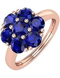 10K Gold Blau Saphir Rund Engagement Ring (11/4Karat)
